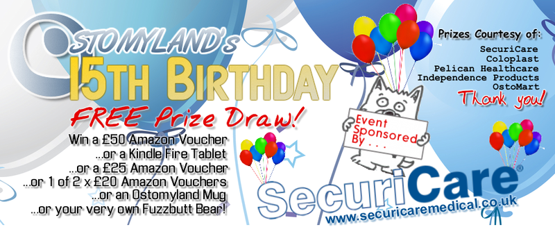 Ostomyland 15th Birthday Free Prize Draw Header - Sponsored by SecuriCare