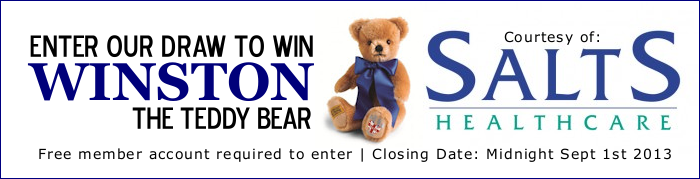 Win WINSTON the Teddy Bear Courtesy of Salts Healthcare